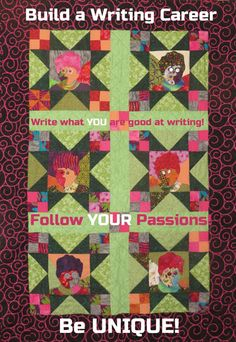 "A Writing Career: Be Yourself! ""Six of one, Half a Dozen of Me,"" self portrait quilt by writer and writing teacher, Darcy Pattison. www.darcypattison.com"