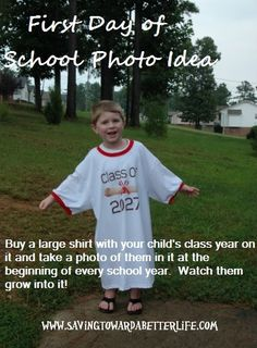 #backtoschool First Day of School Picture Idea - Saving Toward A Better Life