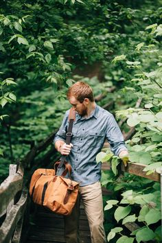 the ayres chambray & the mt. drew duffle in nutmeg | united by blue #bluemovement