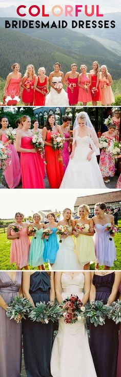 Colorful Dresses - The modern way to make your wedding party stand out is to give your girls some variety! Click to see lots of cute examples of this style.