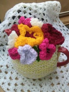 KNITTED TEA COSY - Shabby Chic Kitsch Flower Tea Cozies- Teapot Warmer  - Knitted Spring Tea Cozy - Pretty Flower Cosy - Kitchen Accessory by RetroShabbyChic on Etsy
