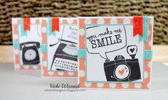 Set of 3x3 cards with CTMH Zoe paper and Share the Love stamp set.  (inspired by Amy McGrew and Karen Varcoe)  by Vicki Wizniuk