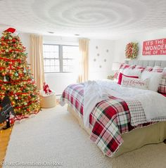 Our Plaid Christmas Bedroom : Plaid Christmas Bedroom / Featuring white walls, Red Plaid Bedding and a full spruce Christmas tree Home Goods Spruce Christmas Tree, Plaid Christmas, Christmas Home, Christmas 2019, White Christmas, Christmas Island, Homemade Christmas, Christmas Mantles, Christmas Cactus