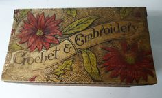 Old CROCHET & EMBROIDERY Pyrography Poinsettia Design Wood Box