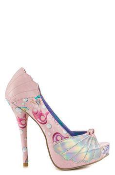38cd672001a Lollipop Lorelei Shell Peep Toe Platform Pink High Heels