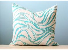 Turquoise Wave Linen Pillow Cover