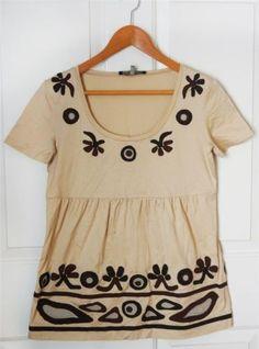MAX MARA sz M light tan s/s tribal appliqued knit top brown ivory embroidery $32 #maxmara