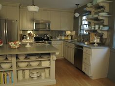 I love a large eat-at kitchen island and this one easily sits four people on stools.