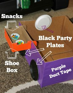 Make your own cardboard box car with some colored duct tape, black paper plates, a shoe box with attached lid, and some tape or brads. This easy DIY project takes less than 15 minutes to complete and is inexpensive fun for your kids!