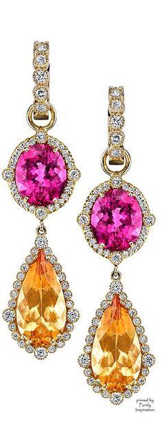 Erica Courtney Presley Earrings (Yellow gold, Topaz, Rubellite, Diamonds)   Purely Inspiration