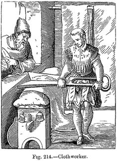 Sixteenth-century facsimile of a wood engraving of a medieval clothworker, published in 'Manners, Custom and Dress During the Middle Ages an...