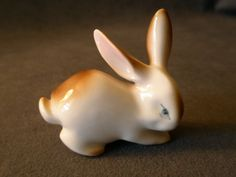 Zsolnay Porcelain Rabbit Figurine from brysantiques on Ruby Lane