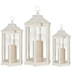 White Wood and Pierced Top Lanterns, Set of 3 ($120) ❤ liked on Polyvore featuring home, home decor, candles & candleholders, white home accessories, white pillar candles, white home decor, white candles and white lantern