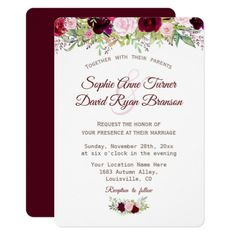 Rustic Fall Burgundy Marsala Floral Wedding Card - invitations custom unique diy personalize occasions