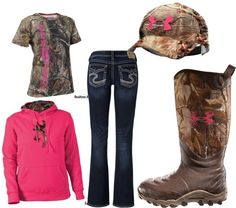 """""""Camo and Pink"""" I could totally rock this outfit :) Country Girl Outfits, Country Girl Style, Country Fashion, Country Girls, Country Life, Camouflage, Camo Outfits, Pink Camo, Women's Camo"""