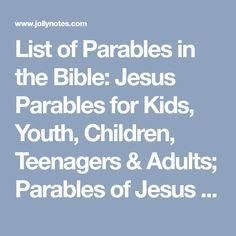 Teen Bible Lessons, Youth Lessons, Object Lessons, Family Bible Study, Bible Study For Kids, Scripture Study, Parables Of Jesus, Jesus Bible, Jesus Christ