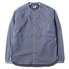 Junya Watanable MAN, Cotton Lawn Paisley Print x Cotton Chambray Shirt (Blue)