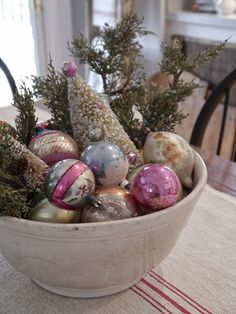 ornaments in old bowl