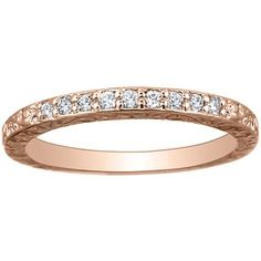 14K Rose Gold Delicate Antique Scroll Ring, top view