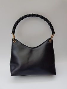 4e64dad648d4 GUCCI Bag. Gucci Bamboo Vintage Black Shoulder Leather Bag with Bamboo  Handle. Italian Designer Purse. Tom Ford Era