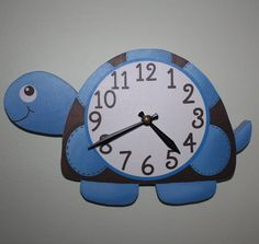 Mod Turtle Wooden WALL CLOCK for Boys Bedroom Baby Nursery – Keep up with the times. Clock Craft, Diy Clock, Clock Ideas, Hat Holder, Wall Watch, Arte Country, Baby Bedroom, Bedroom Boys, Fabric Bins