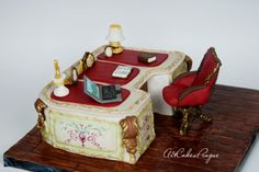 Baroque style writing desk by Art Cakes Prague by Victoria Mkhitaryan