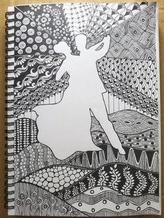 dancing couple.. Cute Doodle Art, Doodle Art Designs, Doodle Art Drawing, Dark Art Drawings, Girly Drawings, Zentangle Drawings, Mandala Drawing, Art Drawings Sketches, Word Drawings