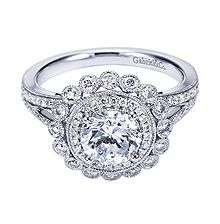 Gabriel & Co. .52 carat White Gold Victorian Halo Engagement Ring- available at Westshore Diamond!