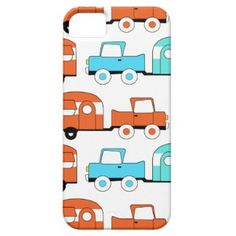 Retro Camping Trailer Turquoise Orange Vintage Car iPhone 5 Covers