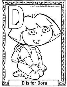 dora cartoon alphabets coloring sheets - Free Printable Colouring Pages For Kids