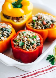 Mediterranean Quinoa Stuffed Peppers- bell peppers stuffed with protein-rich spinach, quinoa and lentils. Paired with Mediterranean flavors of fire roasted tomatoes, fresh dill, lemon and feta for a healthy and delicious meal! (gluten-free) Some of you might already recognize this recipe and that's because I posted it on here almost two years ago. It's one …