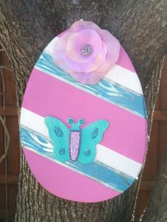 Wood Easter Egg Door Hanger, Pink, White and Blue on Etsy, $18.00