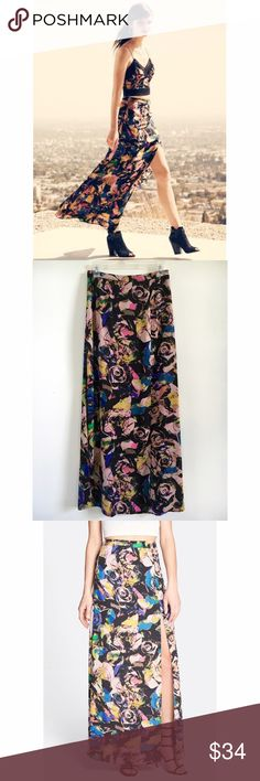 ASTR Floral Print High-waisted Maxi Skirt Silky, flowing high waisted maxi skirt with concealed back zipper, front leg slit, and partially lined with a mini.  ASTR is a Nordstrom exclusive brand sold in their Savvy department.  Size Small will fit US 2/4.  Like new condition! ASTR Skirts Maxi