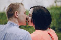 loving couple walking park