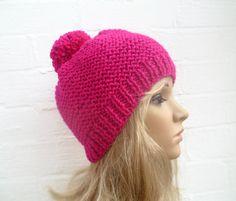 Hand Knit Hat Pink Beanie Pom Pom Hat Women's by Clickclackknits