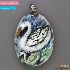 HAND PAINTED & CARVED SWAN PENDANT FOR NECKLACE GEMSTONE BEAD JEWELRY ZL9000005 #ZL #Pendant