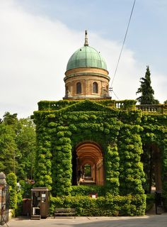The main building of the Mirogoj Cemetery in Zagreb, Croatia.