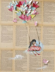 "Saatchi Art Artist: Sara Riches; Paper 2013 Collage ""Take Me Away"""