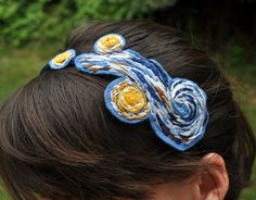 Van Gogh Starry Night Felt Headband by RuthCreates on Etsy