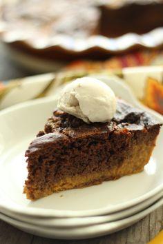 Brownie Pumpkin Pie (with almond milk or coconut milk eggnog!) #dates #coconutoil #2Tcoconutlfour