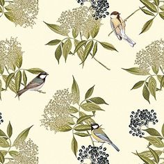 Designer Upholstery, Curtain, Sewing Fabric - Bird on Eld…