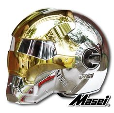 Masei Gold/Silver Chrome 610 Atomic-Man Motorcycle Harley Chopper DOT Helmet Free Shipping Worldwide