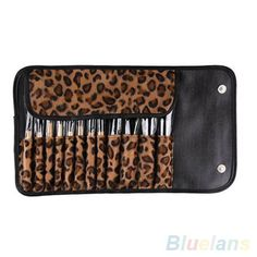 12 PCS Pro Makeup Brushes Set with Leopard Holder