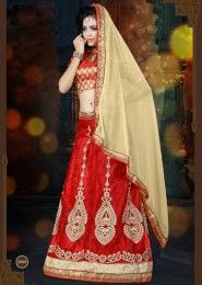 Party Wear Red Net Embroidered Work Lehenga Choli
