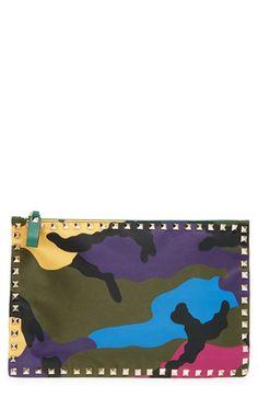 dddc3e1635a4 Valentino Camo Print Nylon Pouch available at #Nordstrom Valentino Camo,  Camo Print, Carry