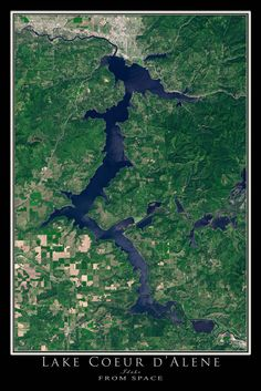 Lake Coeur d'Alene Idaho From Space Satellite Art Poster by TerraPrints.com. Available in multiple sizes with free shipping in the USA.