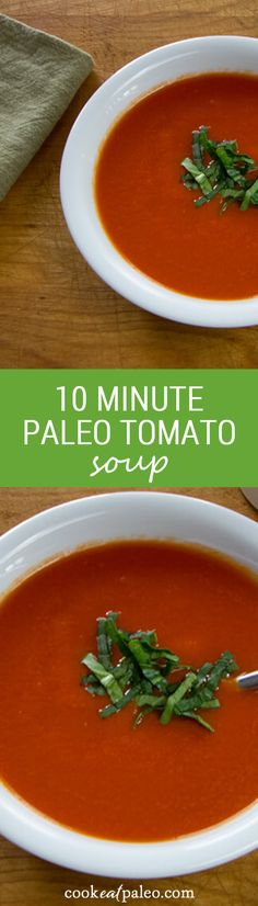 10-Minute Paleo Tomato Soup is a quick and easy dairy-free, paleo tomato soup with intense tomato flavor and a hint of heat and garlic. ~ http://cookeatpaleo.com
