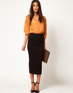 ASOS Ponte Midi Pencil Skirt- really digging this length of skirt right now