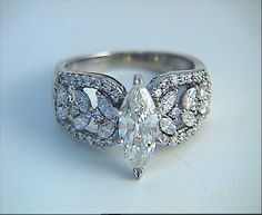 Diamond Wedding Rings : Engagement Ring 2.10ct Marquise Diamond Ring 18kt by blueriver47 $3880.00