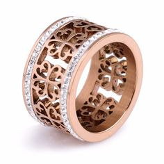 Hot Sale Female Ring Rose Gold/Siver Plated Stainless Steel Flower Shape Pave Setting White Crystal Wedding Ring for Women
